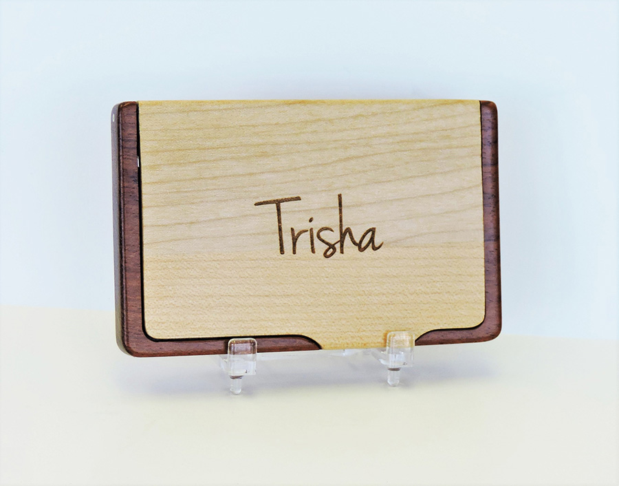 Wood Business Card Case Maple/Rosewood - Forever Me Gifts