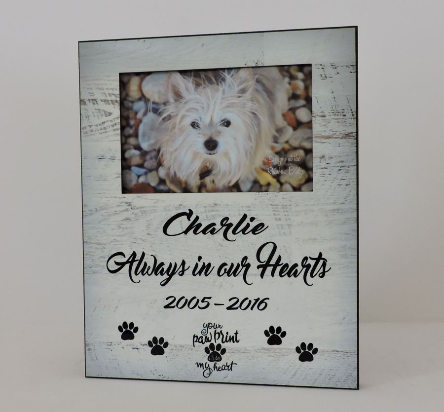 Dog Photo Frame, Weathered Wood Design, Pet Memorial - Forever Me Gifts